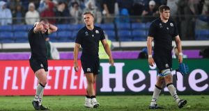 Scotland's Stuart Hogg, Chris Harris and Scott Cummings dejected after their 27-3 defeat to Ireland in the 2019 Rugby World Cup Pool A match at the International Stadium Yokohama. Photo: Ashley Western/PA Wire
