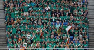 General view of Ireland fans in the stands during the Rugby World Cup 2019 Group. Photograph: Stu Forster/Getty Images