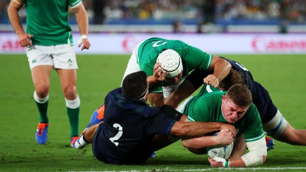 Tadhg Furlong scores Ireland's third try against Scotland. Photograph: Cameron Spencer/Getty