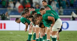 Ireland's players bow to applaud fans after the Rugby World Cup  Group A victory over Scotland in Yokohama. Photograph:  Stu Forster/Getty Images