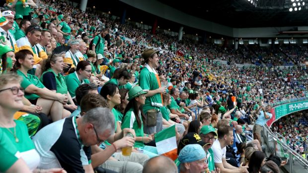 Irish fans watching the Group A opener against Scotland in Yokohama. Photograph: Hannah Peters/Getty Images