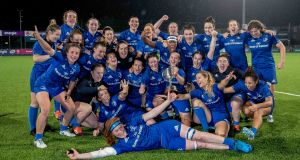 Leinster Women celebrate after beating Connacht to claim back-to-back Interprovincial Championships. Photograph:  Morgan Treacy/Inpho