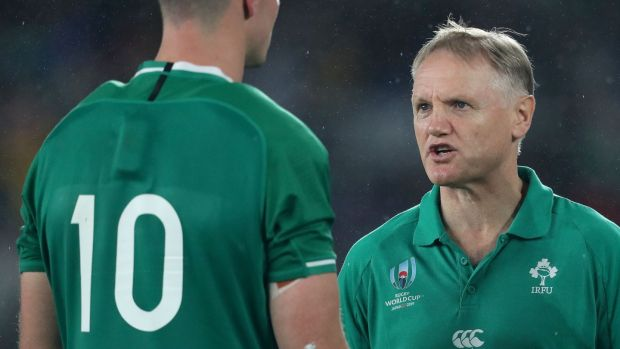 Ireland head coach Joe Schmidt speaks with Jonathan Sexton after the game. Photograph: Dan Sheridan/Inpho