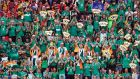 Ireland supporters celebrate a try against Scotland during the World Cup clash in Yokohama, near Tokyo Photograph: Franck Robichon/EPA