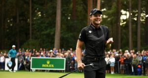 Danny Willett  reacts after he putts on the 11th green during the final round of the BMW PGA Championship at Wentworth Golf Club. Photograph: Harry Trump/Getty Images