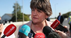 DUP leader Arlene Foster speaking to the media Quinn Industrial Holdings Head Office in Derrylin, as workers gather for an event to show solidarity with director Kevin Lunney, who was abducted and beaten by a masked gang.  Friday September 20, 2019.  Brian Lawless/PA Wire