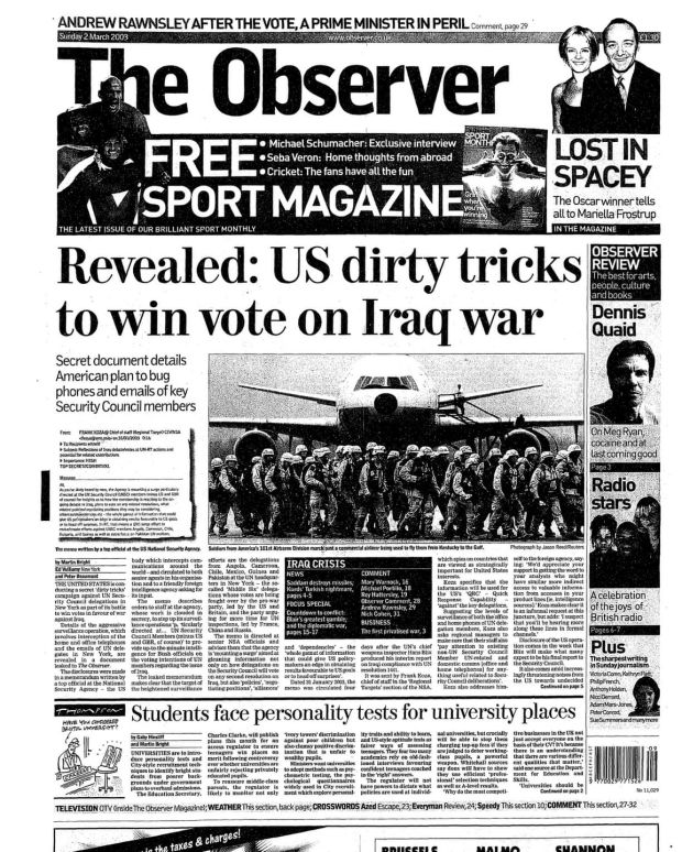 The frontpage of the Observer on Sunday, March 2nd, 2003. Photograph: The Observer