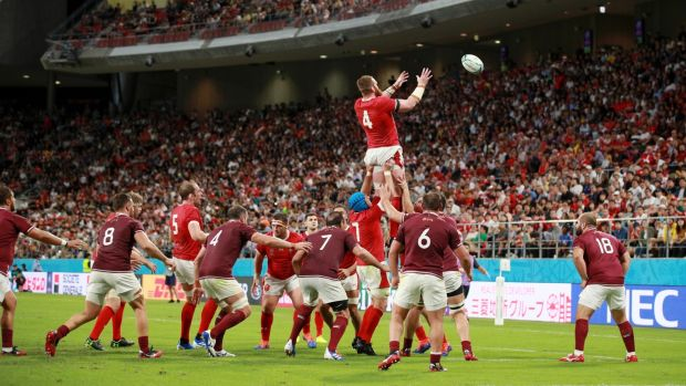 Jake Ball takes a lineout during Wales' win over Georgia. Photograph: Adam Pretty/Getty