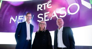 Adrian Lynch, RTÉ's  director of audience, channels and marketing; Dee Forbes, director-general; and Jim Jennings, director of content. File photograph: Andres Poveda
