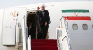 Iranian president Hassan Rouhani leaving Tehran to attend the UN General Assembly summit in New York on Monday. Handout photograph: EPA