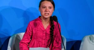 Swedish climate activist Greta Thunberg (16) speaks during the UN Climate Action Summit in New York on Monday. Photograph: Timothy A Clary/AFP/Getty Images