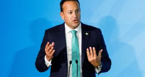 "Taoiseach  Leo Varadkar at the 2019 Climate Action Summit in New York: ""By 2030, we will have prohibited the sale of new petrol and diesel vehicles."" Photograph: Justin Lane"