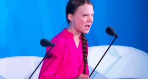 Climate activist Greta Thunberg at the UN climate action summit in New York: Scolded leaders for robbing young people of a future  . Photograph: Johannes Eisele/Getty