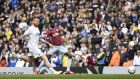 Albert Adomah scores Aston Villa's equaliser  in the  Sky Bet Championship match against  Leeds United  at Elland Road in April. Photograph: George Wood/Getty Images