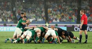 An Ireland and Scotland scrum during Sunday's match in Yokohama. Photograph: Hannah Peters/Getty