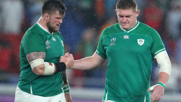 Andrew Porter and Tadhg Furlong after Ireland's win over Scotland. Photograph: Dan Sheridan/Inpho
