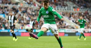 Aaron Connolly in action for Brighton against Newcastle. Photograph: Dan Istitene/Getty