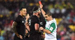 New Zealand's   Sonny Bill Williams is shown a red card by referee Jerome Garces during the second Test against the Lions in 2017. Photograph: Andrew Cornaga/Inpho/Photosport