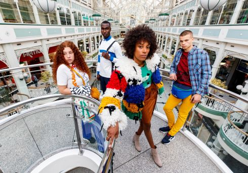 OFF THE RAILS: Models Jodie Giles, Azeez Saeed, Thais Vargas and Maikas Urnikis strut their stuff as United Colors of Benetton presented their A/W range in their flagship store at St Stephen's Green Shopping Centre. Photograph: Andres Poveda