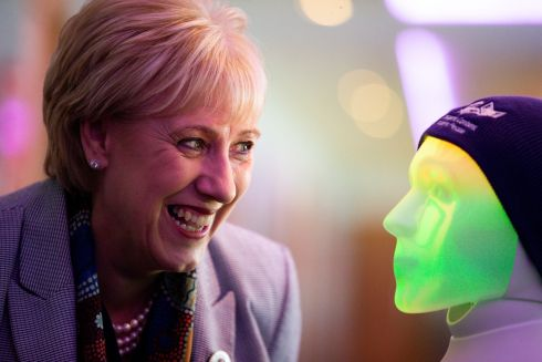 'YOU'RE SO FUNNY': Minister for Innovation Heather Humphreys with a persuasive robot at the launch of the Adapt Centre's Impact Report at Croke Park. Photograph: Tom Honan