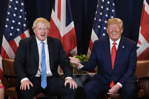 THIS GUY! British prime minister Boris Johnson meets US president Donald Trump at the 74th session of the UN General Assembly in New York. Photograph: Stefan Rousseau/PA Wire