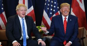 US president Donald Trump and British PM Boris Johnson hold a meeting at UN headquarters in New York, on Tuesday. Photograph: Saul Loeb/AFP/Getty Images