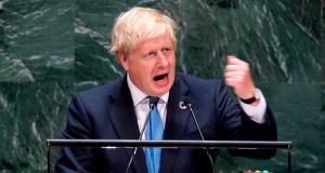 British prime minister Boris Johnson speaks at the United Nations General Assembly in  New York City. Photograph: JOHANNES EISELE/AFP/Getty Images