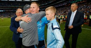 Dublin manager Jim Gavin celebrates after the All-Ireland final with Ciaran Kilkenny. Photograph: Tommy Dickson/Inpho