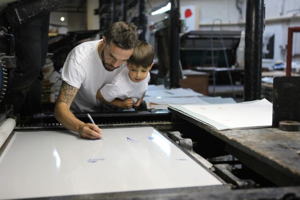 The Fate of Fausto: Oliver Jeffers works on his new book with his son, Harland