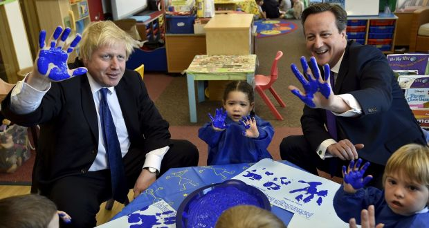 Caught blue-handed: David Cameron, then British prime minister, right, and Boris Johnson,  during a British general election campaign event in Surbiton in 2015. Photograph: Toby Melville / /AFP/Getty Images