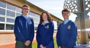 Students at St Joseph's Secondary School, Rush, Co Dublin, are taking part in a review of the senior cycle, including Kadem Price, Rachel Dillon and Senan Monks. Photograph: Alan Betson
