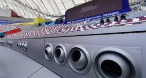 A giant air conditioning system will cool the Khalifa International Stadium during  the World Athletics Championships in Doha, Qatar. Photograph: AP Photo/Martin Meissner