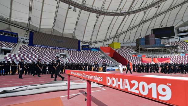 Security prepares at the Khalifa International Stadium prior to the start of the World Athletics Championships. Photo: Martin Meissner/AP Photo