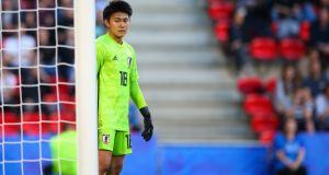 Japan goalkeeper Ayaka Yamashita: she  proved it's all down to reflexes, reactions and  good fortune to be a top goalkeeper. Photograph: Craig Mercer/MB Media/Getty Images