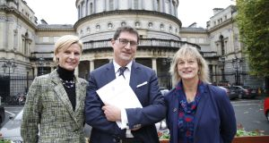 Green Party Cllr Pippa Hackett (left), pictured last year with party leader Eamon Ryan TD and Grace O'Sullivan, recently elected to the European Parliament. Photograph: Nick Bradshaw