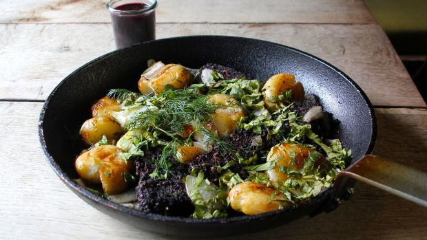 Morcilla hash with hispi cabbage and lovage