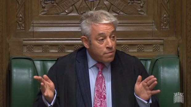 Speaker of the House John Bercow giving remarks at the beginning of a session of the House of Commons in London. Photograph: UK Parliamentary Recording Unit