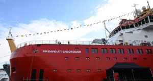 Britain's new polar research ship, the RRS Sir David Attenborough is pictured prior to the naming ceremony in Birkenhead, northwest England on Thursday. Photograph: Paul Ellis/AFP