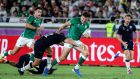 Jacob Stockdale in action for Ireland against Scotland in the opening Pool A win in  Yokohama. Photograph: Dan Sheridan/Inpho