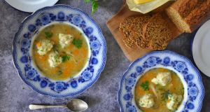 Chicken soup with herb dumplings