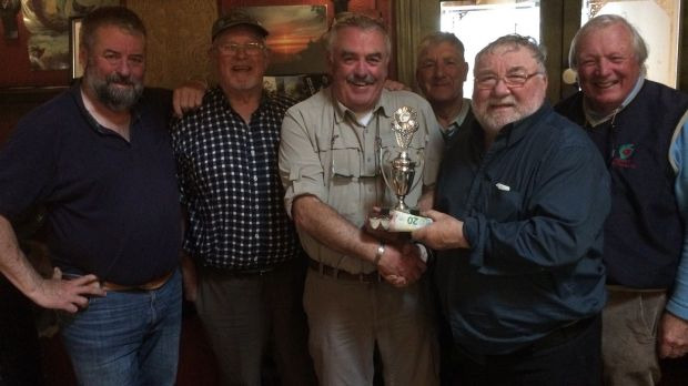 PJ O'Brien from Cork (third left), winner of the Galway Challenge Trophy on Corrib (for a trout of 3.75lb) with fellow anglers.