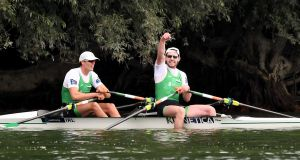 Ireland's Philip Doyle and Ronan Byrne celebrate after finishing in second place in the M2x- A Final at the World Championships in Linz. Photo: Detlev Seyb/Inpho