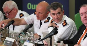 Garda Commissioner Drew Harris  in his public meeting with the Policing Authority. Photograph Nick Bradshaw