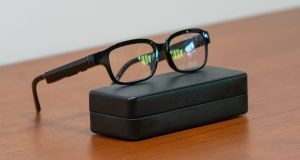 Echo Frames smart glasses: Microphones pick up your voice commands and speakers allow you to hear Alexa's answers. Photograph: Chloe Collyer/Bloomberg