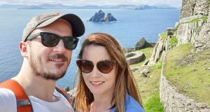 Michael Russell and his wife Sinead on Skellig Michael, Co Kerry.