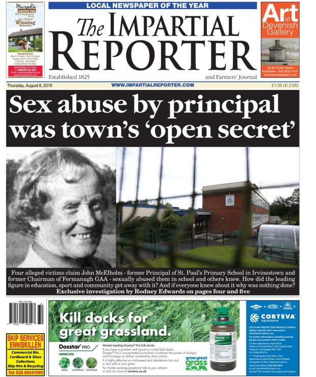 The front page of the Impartial Reporter covering alleged sex abuse.