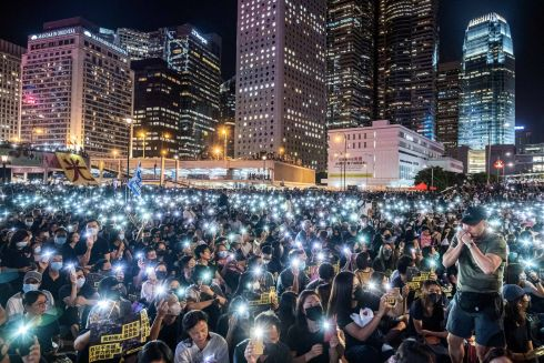 HONG KONG UNREST: People rally in Hong Kong in support of those detained at the San Uk Ling detention centre. Photograph: Lam Yik Fei/The New York Times