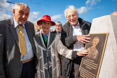 HOLOCAUST MEMORIAL: Holocaust survivors Charlotte Berger-Greneche (C) and Georges Koltein (R) at the unveiling of a plaque in memory of Mary Elmes. Photograph: Brian Lougheed
