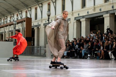 FAST FASHION: A model takes part in the Spring/Summer 2020 ready-to-wear show for Issey Miyake during Paris Fashion Week, in France. Photograph: Caroline Blumberg/EPA