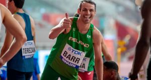 Ireland's Thomas Barr after finishing second to qualify for the 400m hurldes final at the World Athletics Championships in Doha. Photo: Morgan Treacy/Inpho